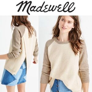 Madewell Colorblock Long Sleeve Split Back Sweater